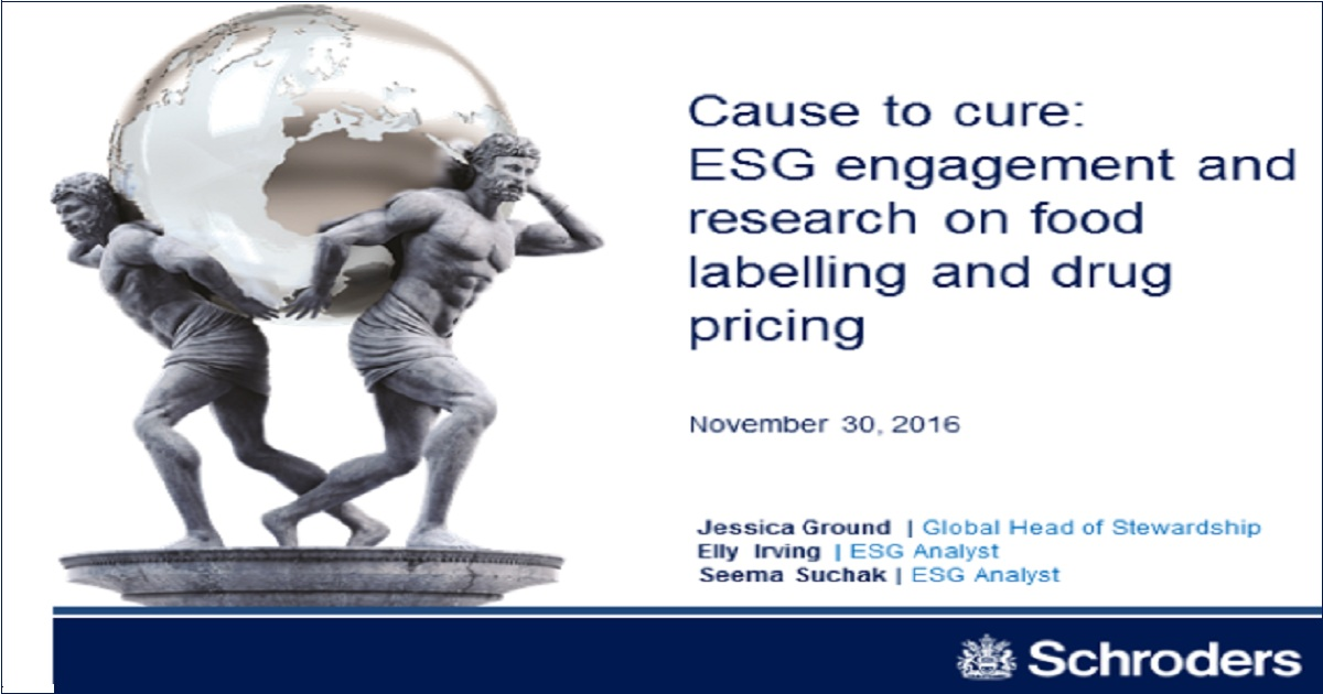 Cause to cure: ESG engagement and research on food labelling and drug pricing