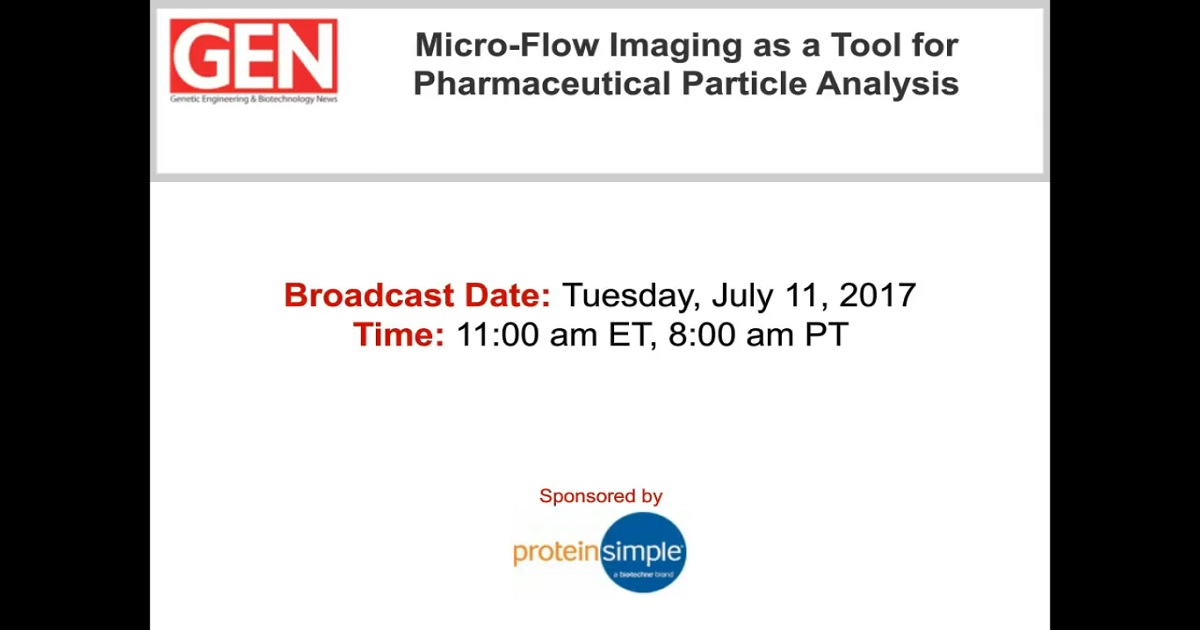 Micro-Flow Imaging as a Tool for Biopharmaceutical Particle Analysis