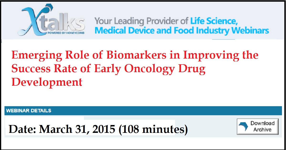 Emerging Role of Biomarkers in Improving the Success Rate of Early Oncology Drug Development