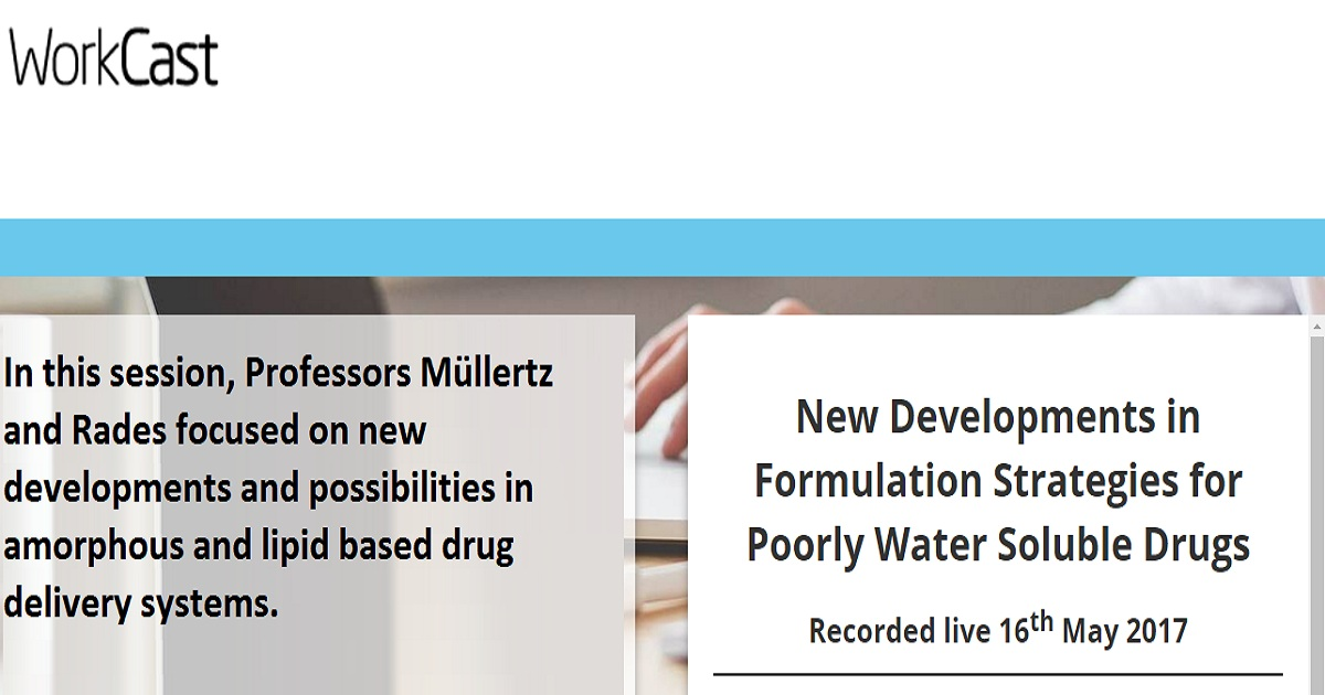 New Developments in Formulation Strategies for Poorly Water Soluble Drugs