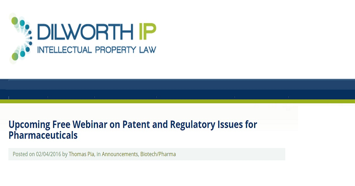 Patent and Regulatory Issues for Pharmaceuticals