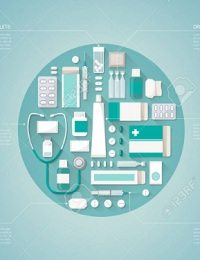 PHARMACEUTICAL INDUSTRY AND MEDICINE VECTOR INFOGRAPHICS WITH DRUGS, PILLS, BOTTLES AND PACKAGES, TEXT BLOCKS AND CHARTS ALL AROUND
