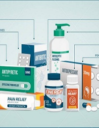 VECTOR - MEDICINE, HEALTHCARE, AND PHARMACEUTICALS INFOGRAPHICS WITH DRUGS CLASSIFICATION AND ICONS SET